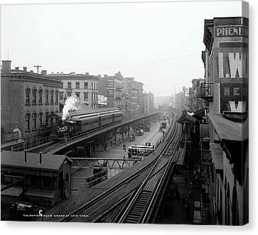 New York Bowery At Grand St.  1900 Canvas Print