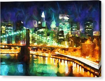 New York By Night Abstract Realism Canvas Print by Georgiana Romanovna
