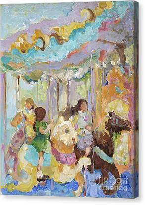 New York Carousel Canvas Print by Sharon Furner