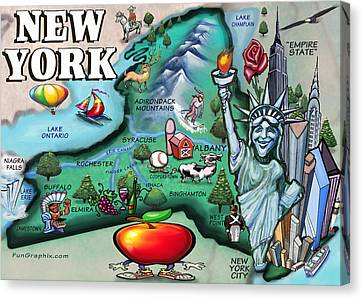 New York Cartoon Map Canvas Print by Kevin Middleton