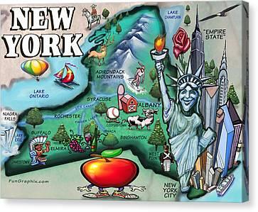 New York Cartoon Map Canvas Print
