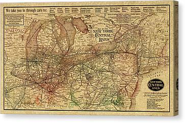 New York Central Lines Railway Map Vintage Circa 1918 On Worn Distressed Parchment Canvas Print by Design Turnpike