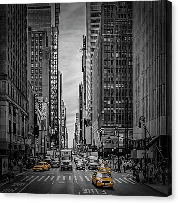 New York City 7th Avenue Traffic Canvas Print by Melanie Viola