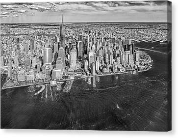 New York City Aerial View Bw Canvas Print by Susan Candelario