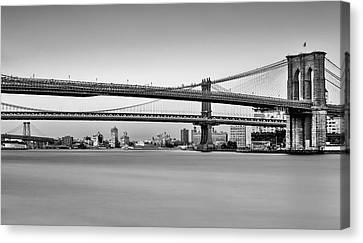 New York City Bridges Bmw Bw Canvas Print by Susan Candelario