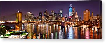 New York City Brooklyn Bridge And Lower Manhattan At Night Nyc Canvas Print by Jon Holiday