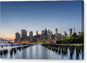 New York City Dusk Canvas Print by Rafael Quirindongo