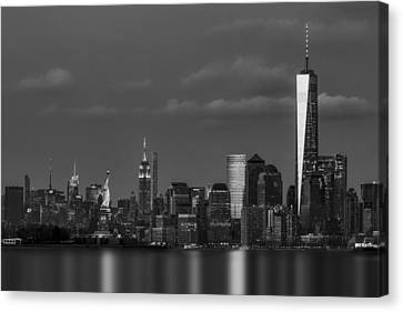 Canvas Print featuring the photograph New York City Icons Bw by Susan Candelario