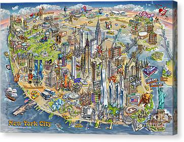 New York City Illustrated Map Canvas Print by Maria Rabinky