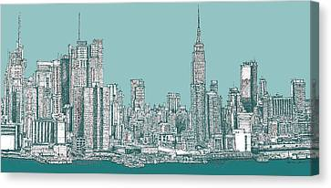 New York City In Blue-green Canvas Print by Building  Art