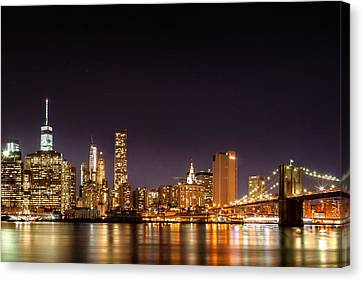 New York City Lights At Night Canvas Print by Az Jackson