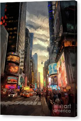 New York City Lights Canvas Print by Lois Bryan