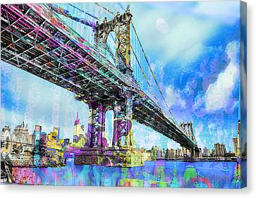New York City Manhattan Bridge Blue Canvas Print by Tony Rubino