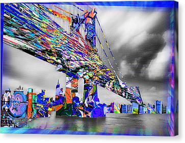 New York City Manhattan Bridge Pure Pop Blue Canvas Print by Tony Rubino