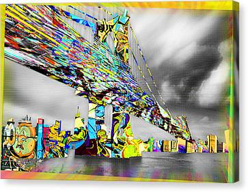 New York City Manhattan Bridge Pure Pop Gold Canvas Print by Tony Rubino