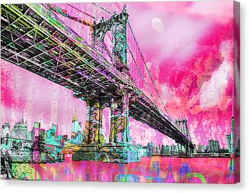 New York City Manhattan Bridge Red Canvas Print by Tony Rubino