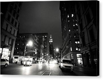 New York City - Midnight Canvas Print by Vivienne Gucwa