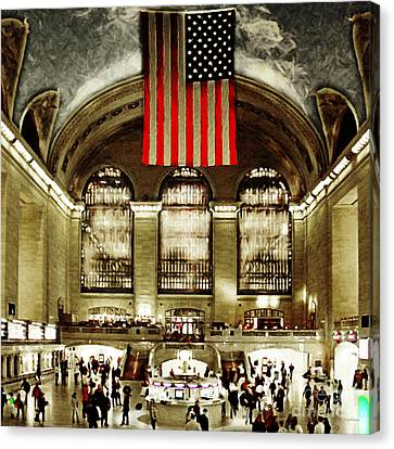 New York City Midtown Manhatten Grand Central Terminal 20160215 Square Canvas Print by Wingsdomain Art and Photography