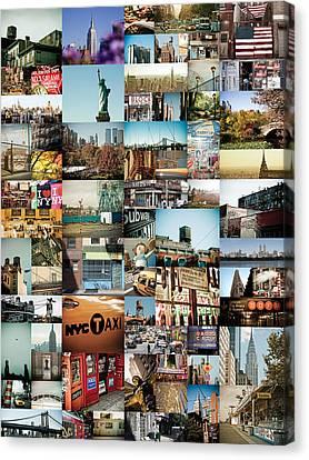 New York City Montage 2 Canvas Print by Darren Martin