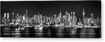 White Canvas Print - New York City Nyc Skyline Midtown Manhattan At Night Black And White by Jon Holiday