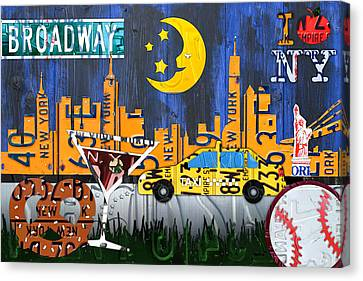 New York City Nyc The Big Apple License Plate Art Collage No 1 Canvas Print