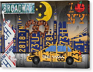 New York City Nyc The Big Apple License Plate Art Collage No 2 Canvas Print