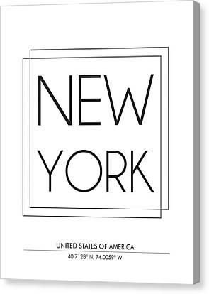 New York City Print With Coordinates Canvas Print