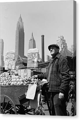 New York City, Push Cart Fruit Vendor Canvas Print by Everett