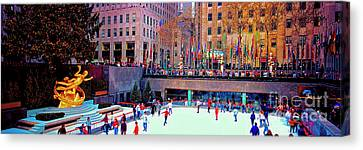 Canvas Print featuring the photograph  New York City Rockefeller Center Ice Rink  by Tom Jelen