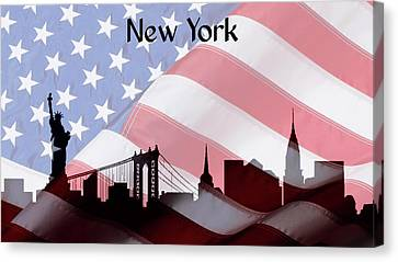 Statue Of Liberty Canvas Print - New York City Skyline American Flag by Dan Sproul
