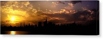 New York City Skyline At Sunset Panorama Canvas Print by Vivienne Gucwa