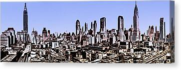 New York City Skyline Blue Graphic Canvas Print by Edward Fielding