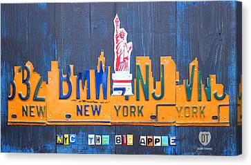 New York City Skyline License Plate Art Canvas Print by Design Turnpike