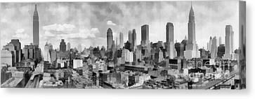 New York City Skyline Monochromatic Canvas Print by Edward Fielding