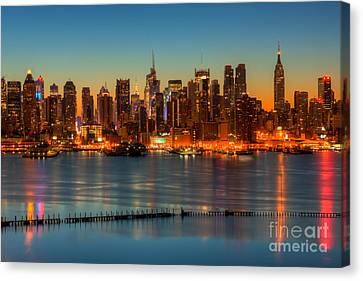 New York City Skyline Morning Twilight V Canvas Print by Clarence Holmes