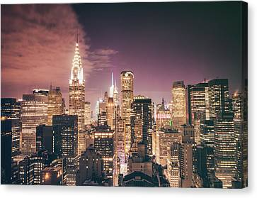 Rooftop Canvas Print - New York City Skyline - Night by Vivienne Gucwa