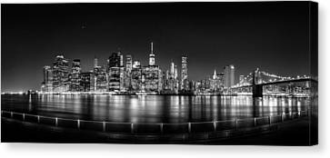 New York City Skyline Panorama At Night Bw Canvas Print by Az Jackson