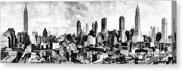 Times Square Canvas Print - New York City Skyline Sketch by Edward Fielding