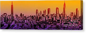 New York City Skyline Sunset Painting Canvas Print by Edward Fielding