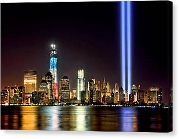 New York City Skyline Tribute In Lights And Lower Manhattan At Night Nyc Canvas Print by Jon Holiday