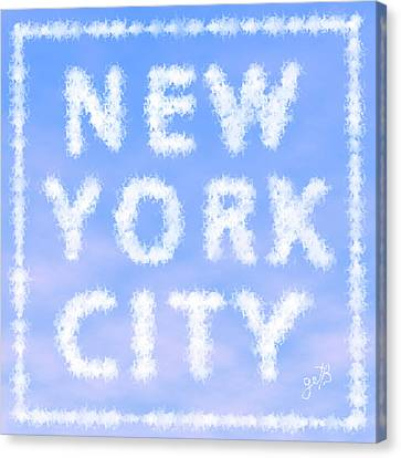 Canvas Print featuring the painting New York City Skywriting Typography by Georgeta Blanaru