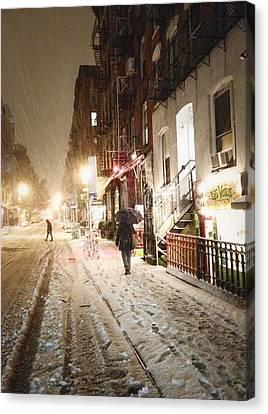 New York City - Snow - Night Canvas Print by Vivienne Gucwa