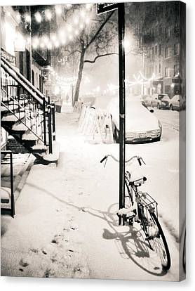 East Village Canvas Print - New York City - Snow by Vivienne Gucwa