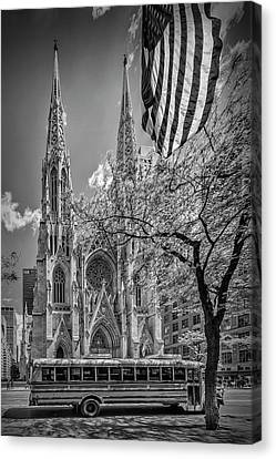 School Bus Canvas Print - New York City St Patrick's Cathedral - Monochrome by Melanie Viola