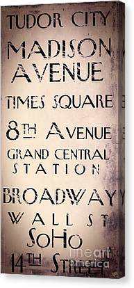 New York City Street Sign Canvas Print by Mindy Sommers