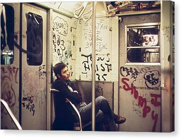 New York City Subway. A Lone Passenger Canvas Print by Everett