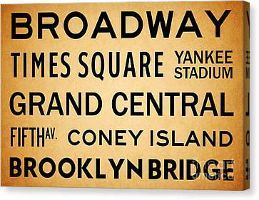 New York City Subway Sign Typography Art 1 Canvas Print