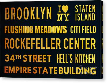New York City Subway Sign Typography Art 14 Canvas Print