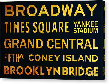 Times Square Canvas Print - New York City Subway Sign Typography Art 2 by Nishanth Gopinathan