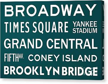 New York City Subway Sign Typography Art 3 Canvas Print